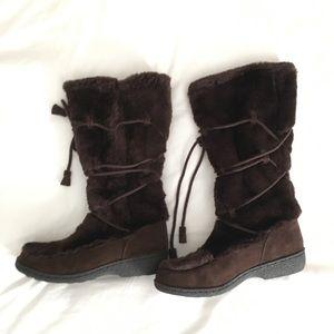 Nine West faux fur brown winter boots